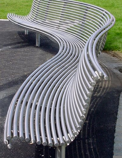 stainless steel park bench, curved