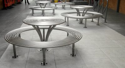 Benchmark design street furniture - New baseline stainless steel picnic set. 316 stainless steel