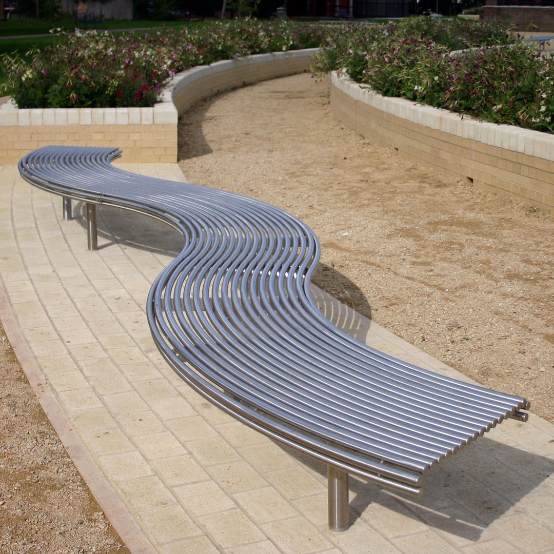 Made from 316 stainless steel, curved to any radius. From our centerline street furniture range.