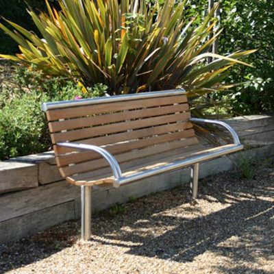 Shoreline SL003 bench, from benchmark design limited. Made from iroko hardwood and 316 stainless steel.