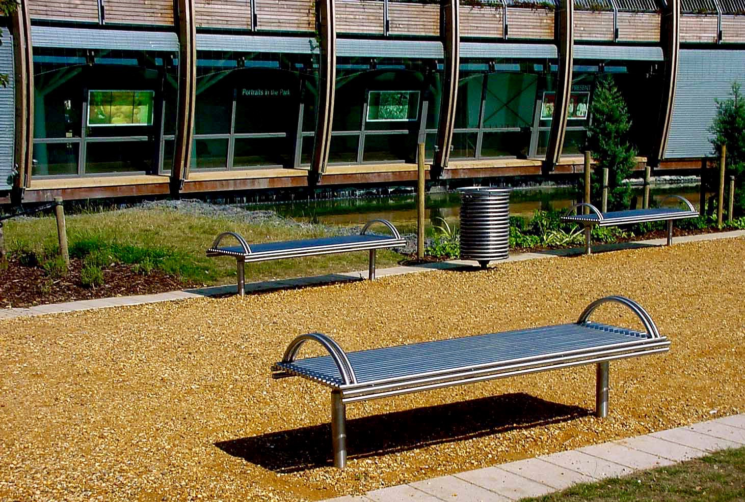Centerline street furniture, CL005 bench, made from 316 stainless steel.