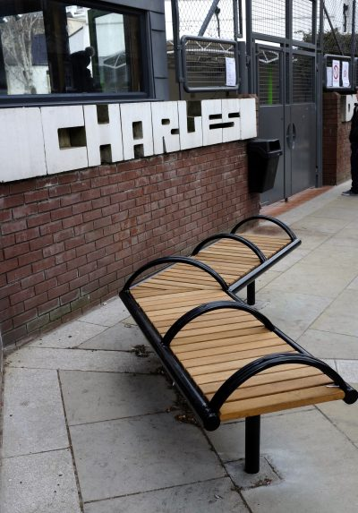 Shoreline SL005 bench. Made from Iroko timber and 316 stainless steel. From our Shoreline street furniture range