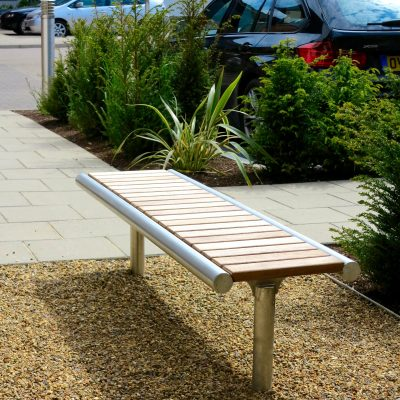 Shoreline street furniture SL006 bench - hard wood, 316 stainless steel
