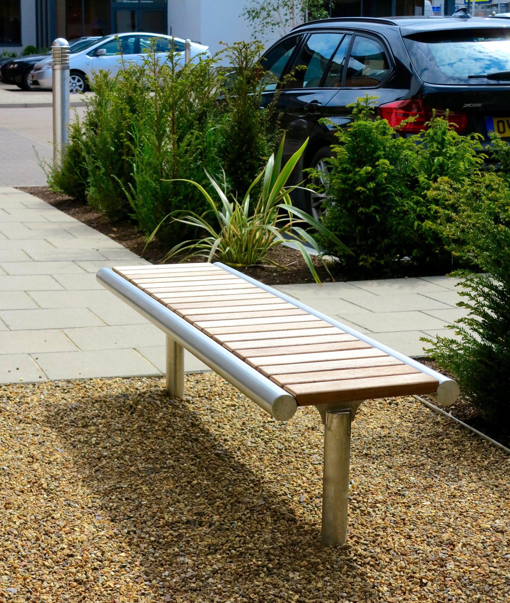 Shoreline street furniture SL006 bench - hard wood, 316 stainless steel