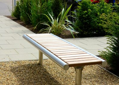 hard wood street furniture, 316 stainless steel bench