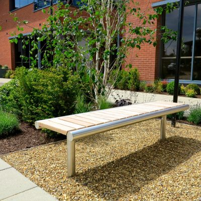 hardwood and stainless steel bench