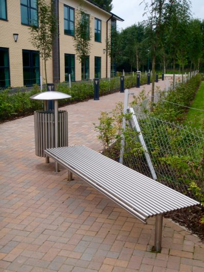 stainless steel bench and litter bin