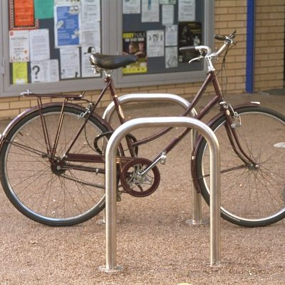 benchmark design - Sheffield cycle hoop, made from 316 stainless steel. From our centerline street furniture range