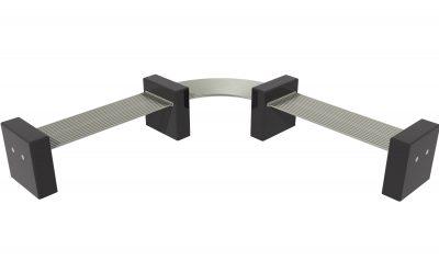 Granite and stainless steel bench, street furniture. Modular design
