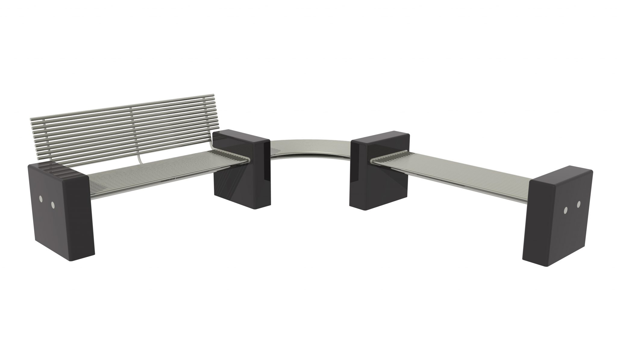 Plaza PL003 seat and PL005 stainless steel street furniture