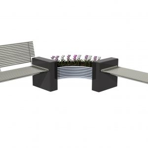 Plaza general arrangement Stainless steel and Granite planter, bench and seat.