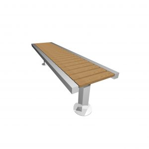 Campus street furniture, made from Aluminium and Iroko to create an ideal bench for schools, urban projects, universities
