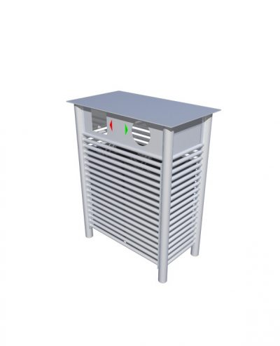 Baseline street furniture BL054 recycling litter bin. Made from 316 stainless steel.