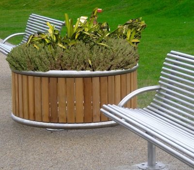 Shoreline Planter, made from Iroko timber and 316 stainless steel. Made to any dimensions.