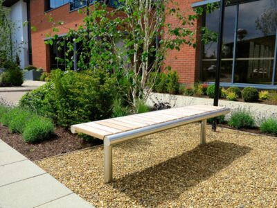 contemporary timber bench
