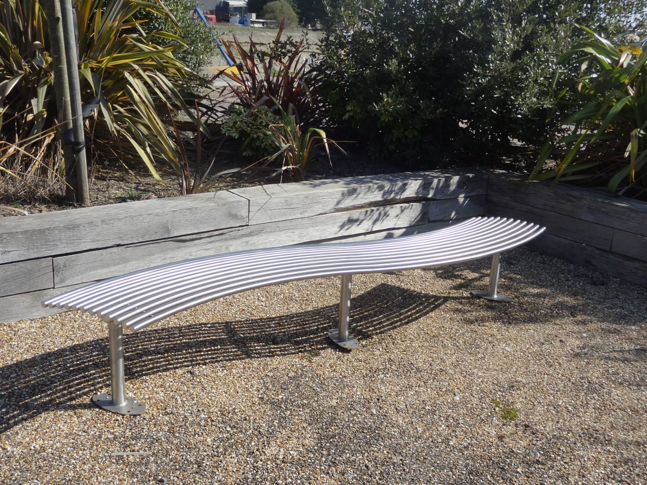 baseline street furniture BL007 stainless steel curved bench