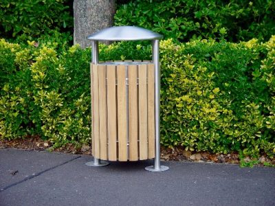 Shoreline SL052 litterbin, made from hardwood and stainless steel. 80L capacity. From benchmark design limited