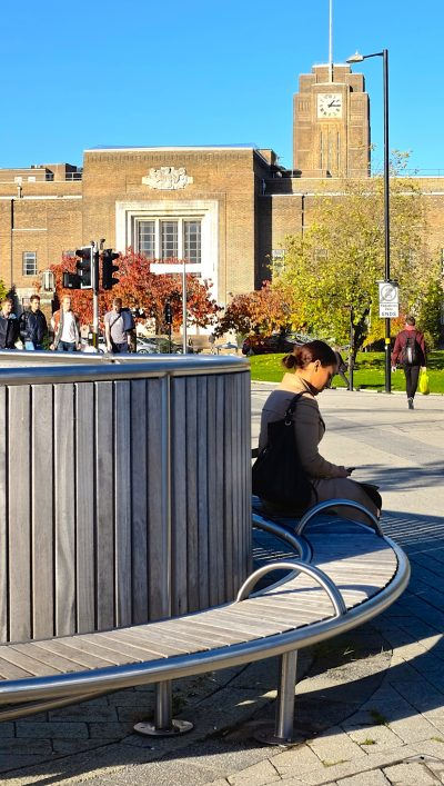 Shoreline SL007 bench and facade. From our one off street furniture range. Made from Iroko and 316 stainless steel