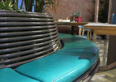 benchmark design limited, street furniture CL010 centerline curved seat. Powder coated finish