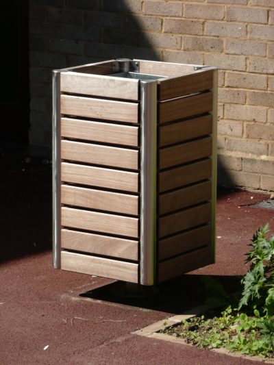 Shoreline SL048 litterbin, 80L capacity. Made from 316 stainless steel and Iroko timber.