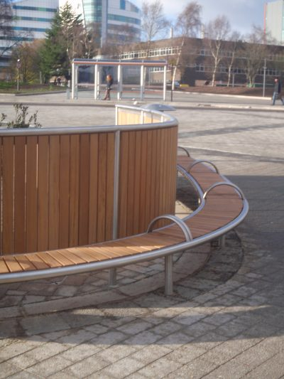 Shoreline SL007 bench and facade. From our one off street furniture range.