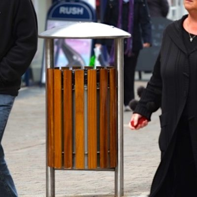 benchmark shoreline SL052 ashtray litterbin Iroko stainless steel
