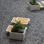 Planter, benches and tables. Iroko and aluminium framed street furniutre