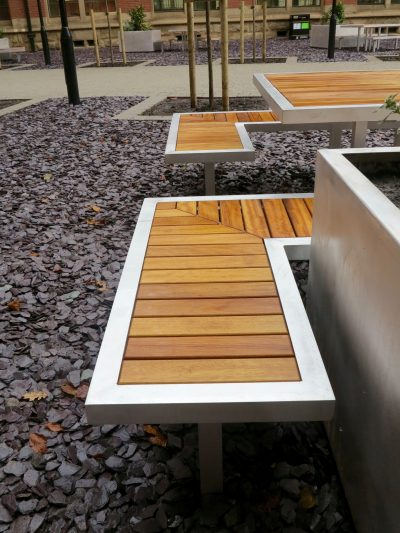 benchmark street furniture campus range. Iroko and aluminium benches