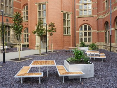 Campus arrangement of aluminium planter and Iroko benches Co-ordinated furniture