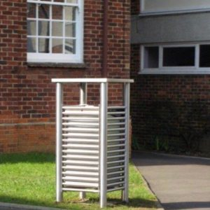 stainless steel litterbin from benchmark design street furniiture