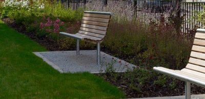 shoreline SL003 seat - Iroko hardwood and Stainless steel - benchmark design street furniture