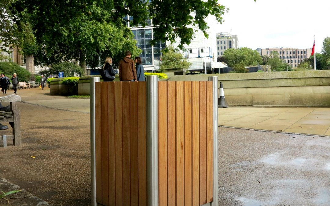 Bespoke litter bin from our Shoreline street furniture range. Made from 316 stainless steel and Iroko timber.
