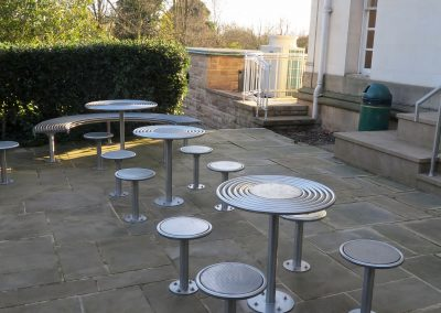 benchmark design street furniture - Circular stools and tables