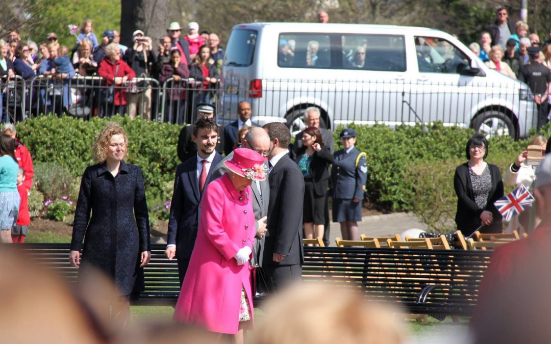 The Queen inspects Benchmark street furniture at Alexandra park, Windsor
