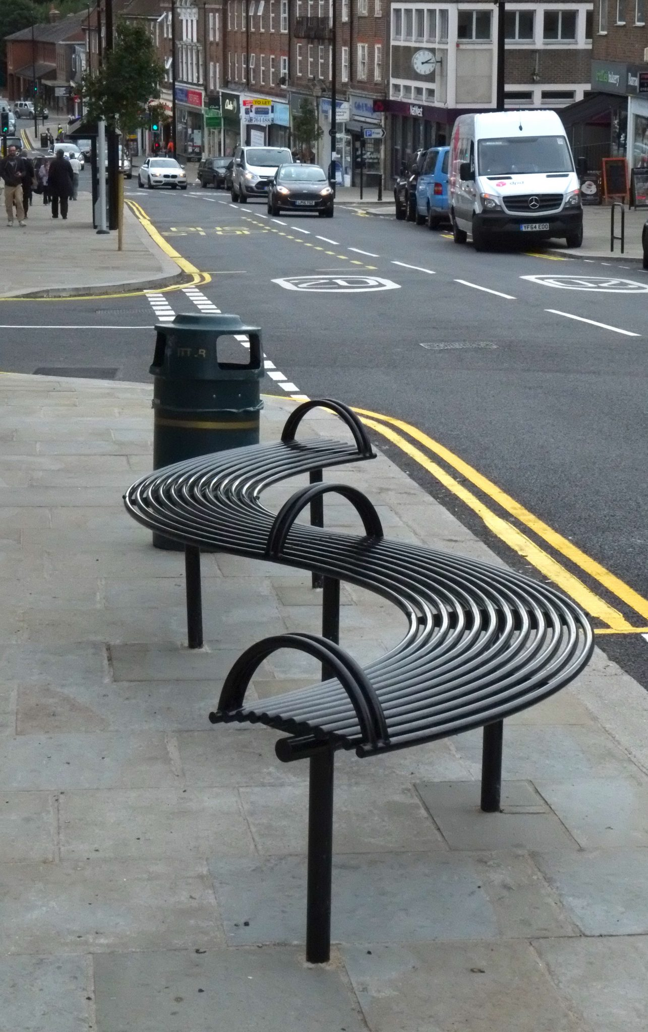 Uckfield Town Centre Improvements Curved Street Furniture Benchmark Street Furniture