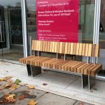 Iroko hardwood seat from the new exeter range, by benchmark street furniture