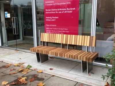 Iroko hardwood seat from the new exeter range, by benchmark street furniture