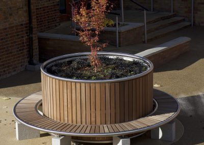 Large bespoke planter, Iroko hard wood stainless steel frame work