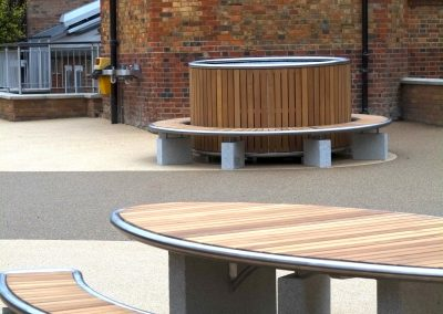 Stainless steel and Iroko hard wood street furniutre