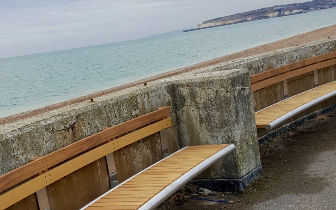 Seaford Martello Tower – curved Shoreline benches