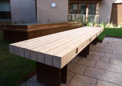 Benchmark street furniture - Exter EX005L bench made from Accoya timber