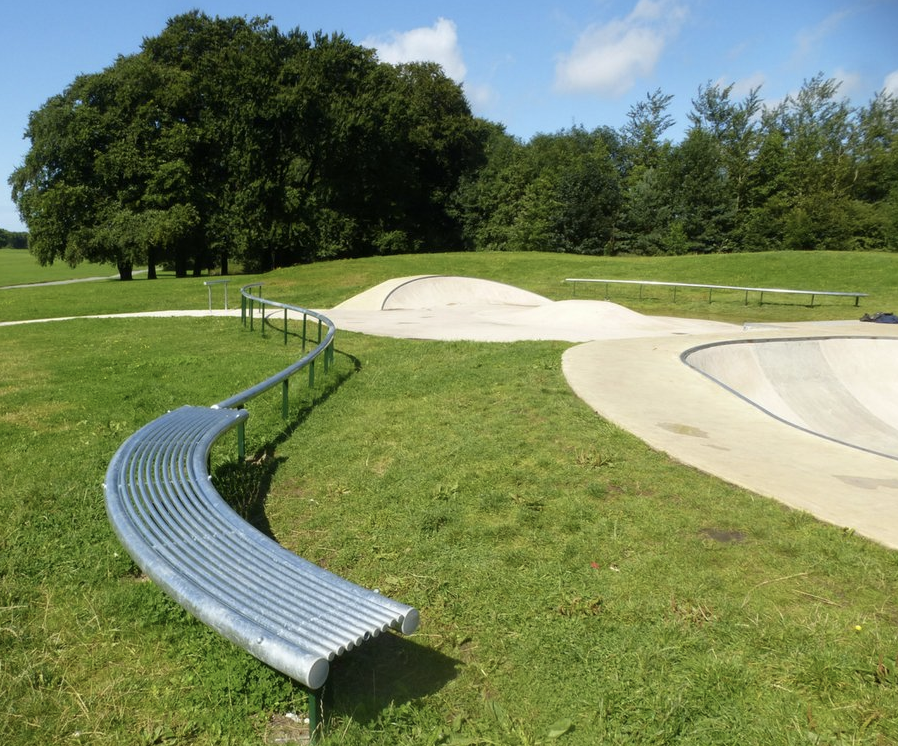 curved steel park bench