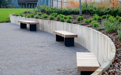Hardwood and steel bench - street furniture