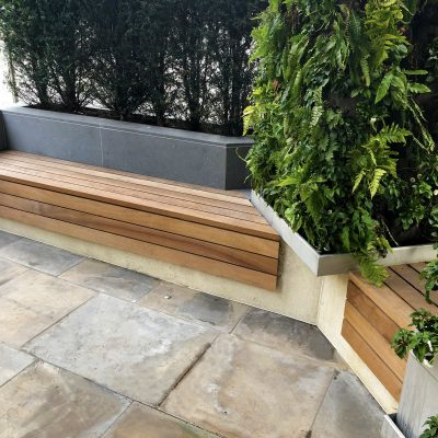 Hardwood timber top benches