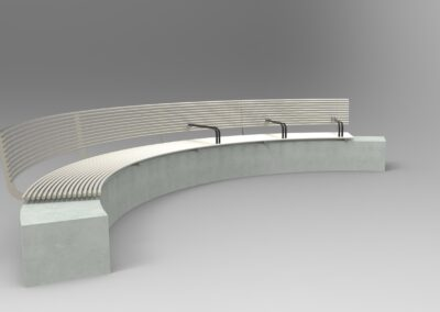 contemporary curved stainless steel bench
