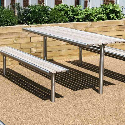 316 stainless steel and Iroko hardwood picnic set