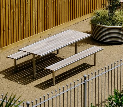 Stainless steel and timber Picnic set, manufactured by Benchmark street furniture